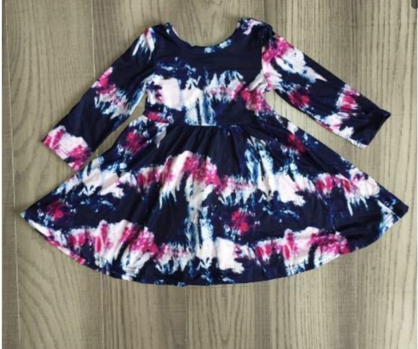 INVENTORY LIQUIDATION! IN STOCK! Navy/Pink Long Sleeve Tie Dye Dress