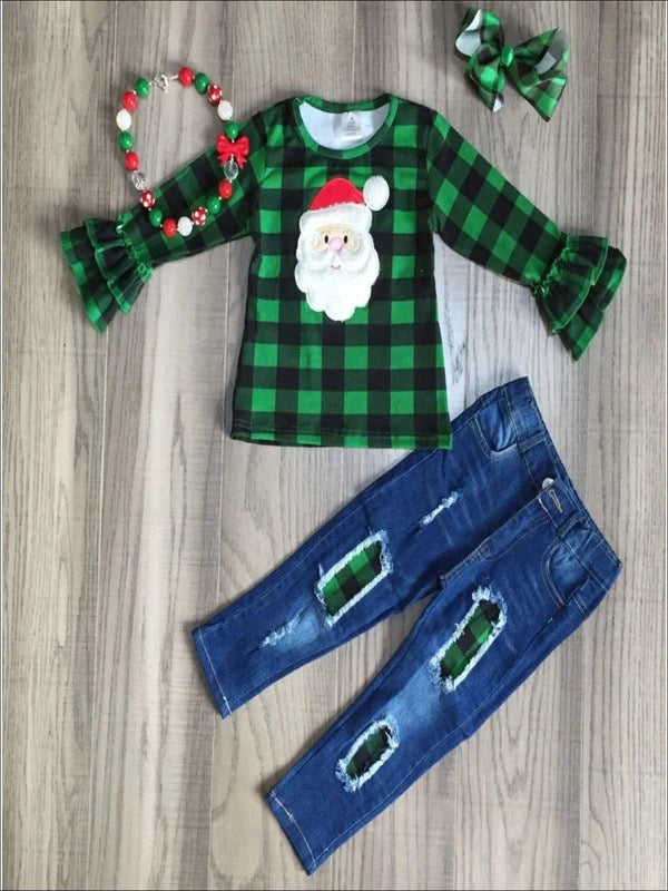 IN STOCK! Plaid Santa Distressed Denim Set