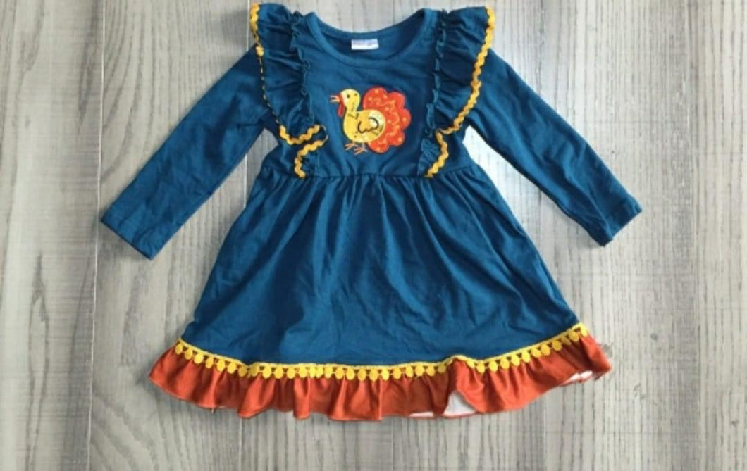 Preorder! Navy Turkey Flutter Dress