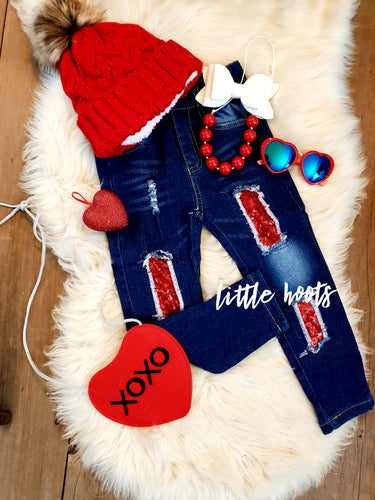 IN STOCK! Distressed Red Sparkle Jeans