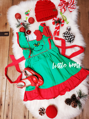 IN STOCK! Premium Grinch Woven Belted  Flutter Dress