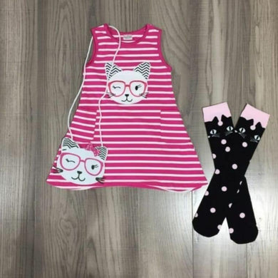 Preorder! Cat Stripe Dress, Purse and Socks