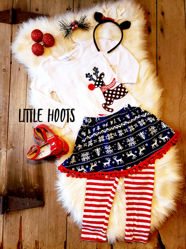 IN STOCK: JOLLY REINDEER 3 PIECE SKIRT SET