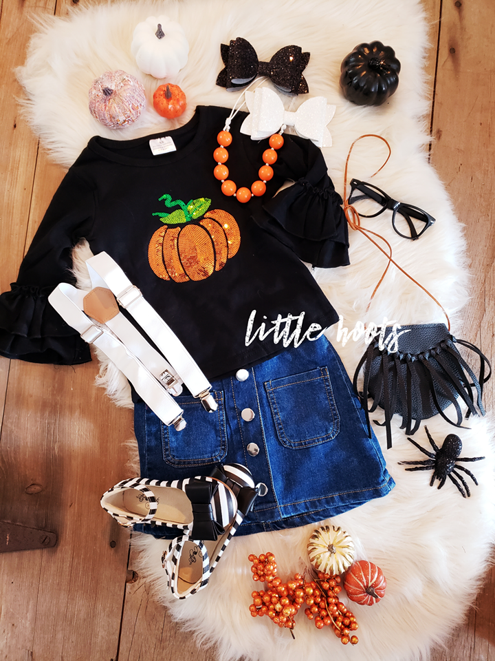 SALE! IN STOCK!! Sequin Pumpkin Top and Denim Suspender Skirt