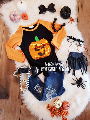 sALE! IN STOCK! Reversible Sequin Pumpkin/JackOLantern Knot Top