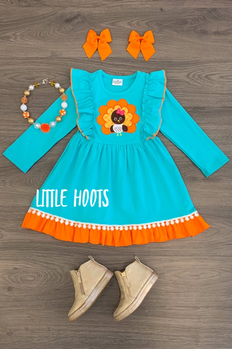 IN STOCK! TEAL TURKEY FLUTTER DRESS