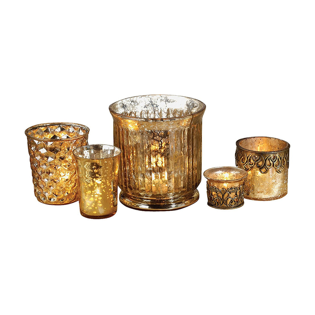 Antique-Inspired Champagne Audrey Votives, Set of 5