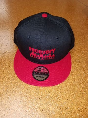 Black/Red Flat Bill Logo Hat