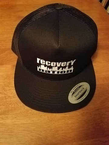 Black Flat Bill Logo Hat (Mesh Back)
