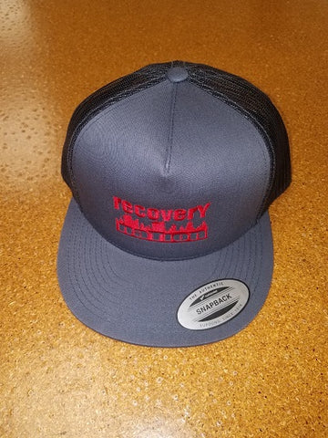 Charcoal/Black Flat Bill Red Logo Hat (Mesh Back)