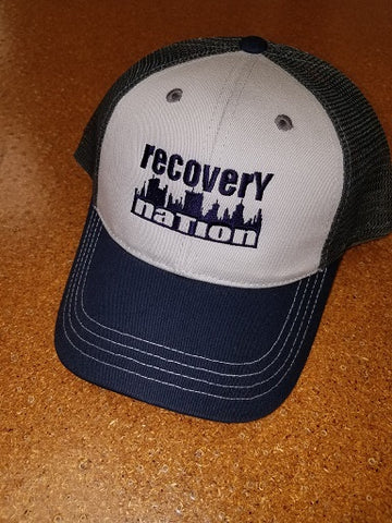 Light Grey/Navy Logo Hat (Mesh Back)
