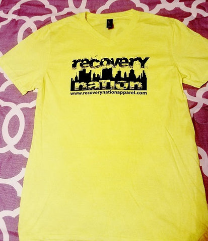 NEON Yellow V Neck Logo T (Unisex)