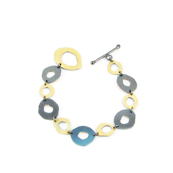 small two-tone rough cut bracelet - Lisa Crowder Studio