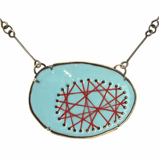 blue and red crisscross stitched necklace - Lisa Crowder Jewelry