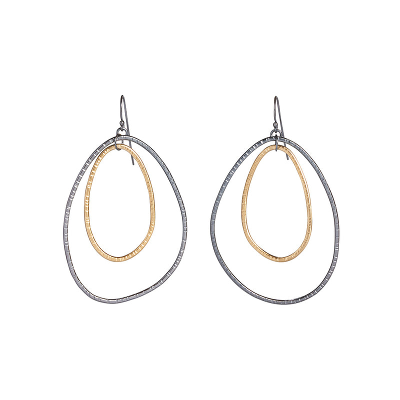 hatch double loop 2 tone earrings - Lisa Crowder Studio