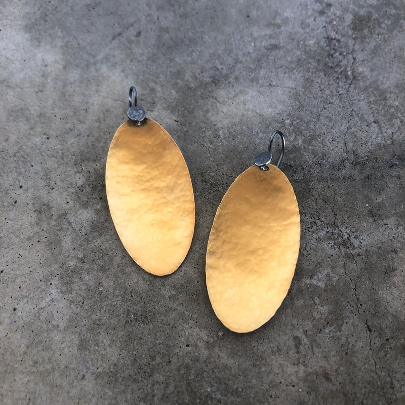 long hammered oval earrings - Lisa Crowder Jewelry