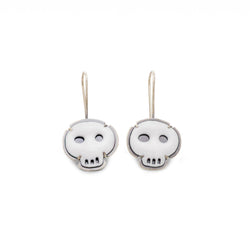 white tiny skull earrings - Lisa Crowder Jewelry