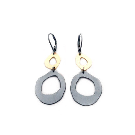 small two rough cut earring with 14k bimetal - Lisa Crowder Jewelry