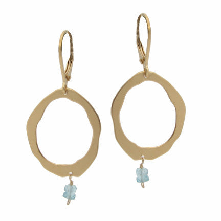 single rough cut earring with stone - Lisa Crowder Studio