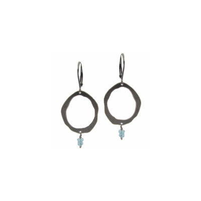 single rough cut earring with stone - Lisa Crowder Jewelry
