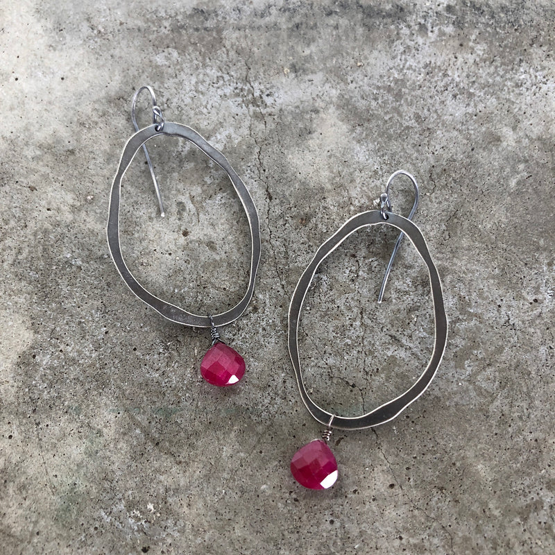 extra thin rough cut earring with stone - Lisa Crowder Studio