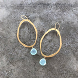 extra thin rough cut earring with stone - Lisa Crowder Jewelry
