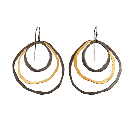 3 layer round rough cut earrings - Lisa Crowder Jewelry