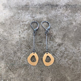 tiny rough cut 2 tone dangle w/ bar - Lisa Crowder Jewelry