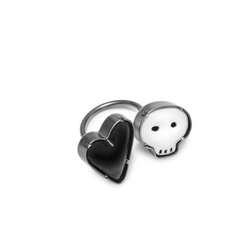 double skull & heart ring - Lisa Crowder Jewelry