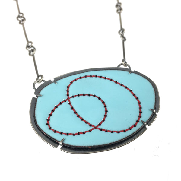 blue enamel loop stitched pendant - Lisa Crowder Studio