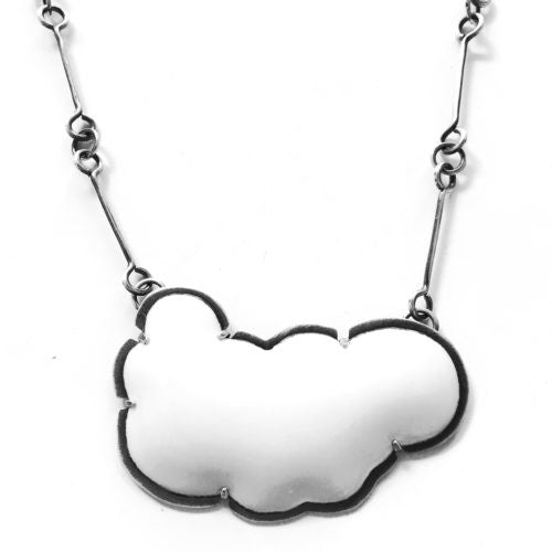 large white enamel cloud necklace - Lisa Crowder Jewelry