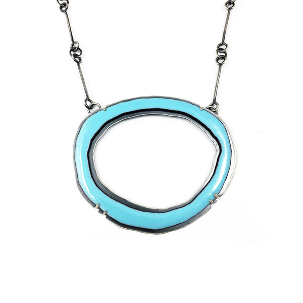 large thin single rough cut blue enamel necklace - Lisa Crowder Studio
