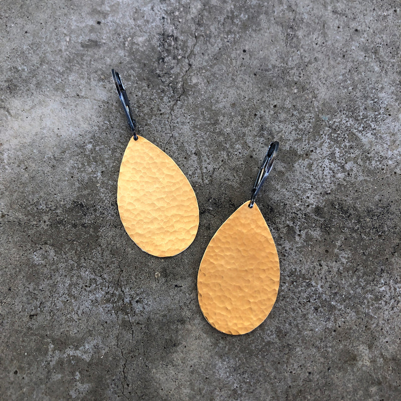 hammered teardrop 2 tone earrings - Lisa Crowder Jewelry