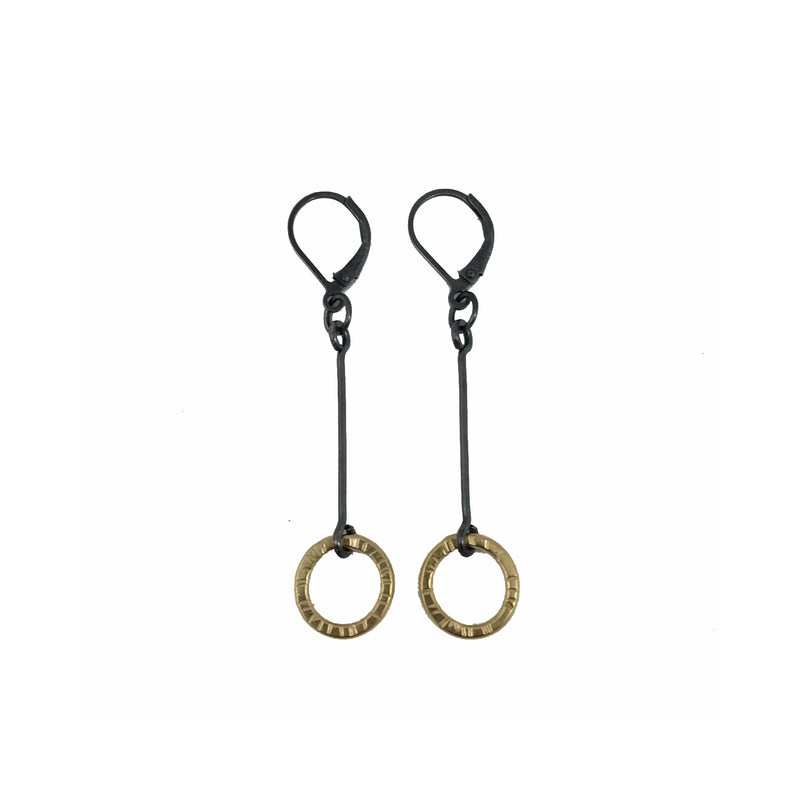 small single drop hatch earring - Lisa Crowder Studio