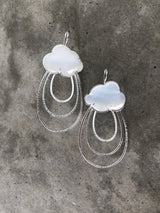 white chalcedony cloud ray earrings