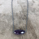 large faceted amethyst single stone necklace