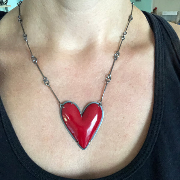 large enamel heart necklace - Lisa Crowder Jewelry