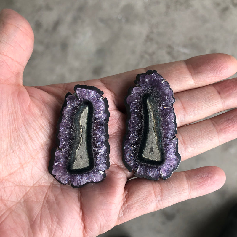 Amethyst slice cathedral earrings