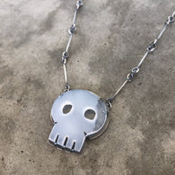 White Chalcedony Skull Necklace