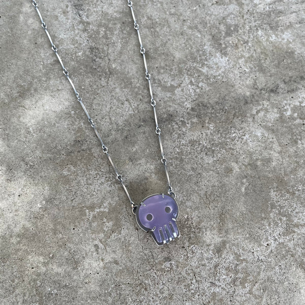 tiny lavender chalcedony skull necklace