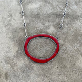 large thin single rough cut red enamel necklace - Lisa Crowder Studio