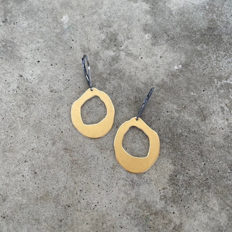 small thin rough cut two tone earrings