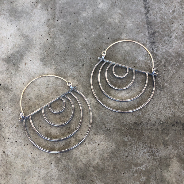 hatch basket two-tone earrings