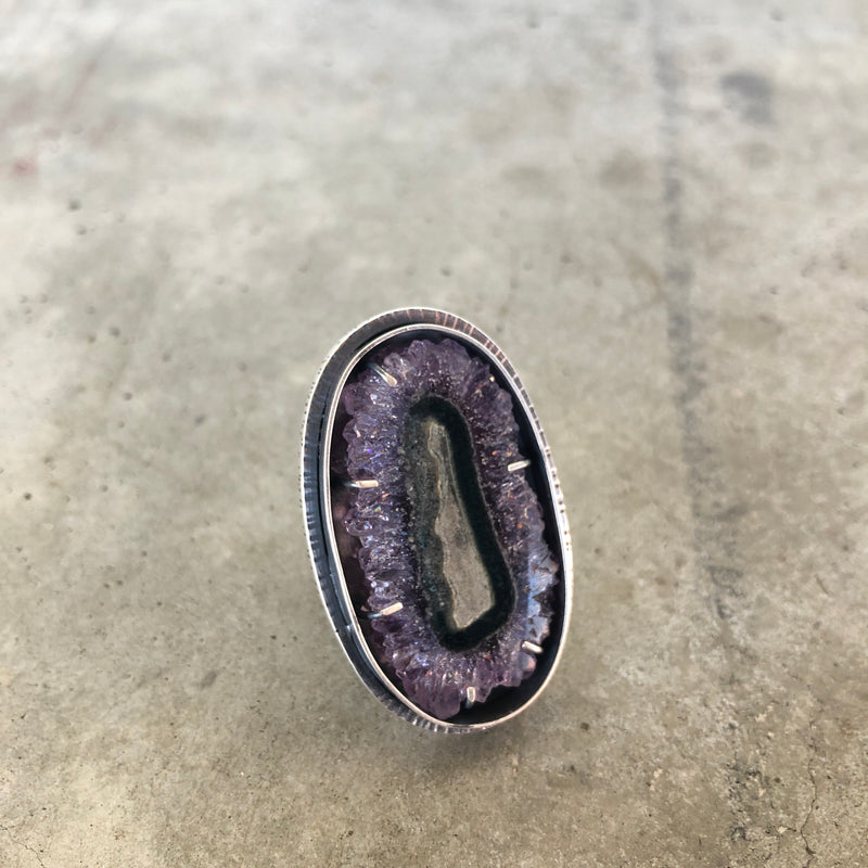 Amethyst slice cathedral ring