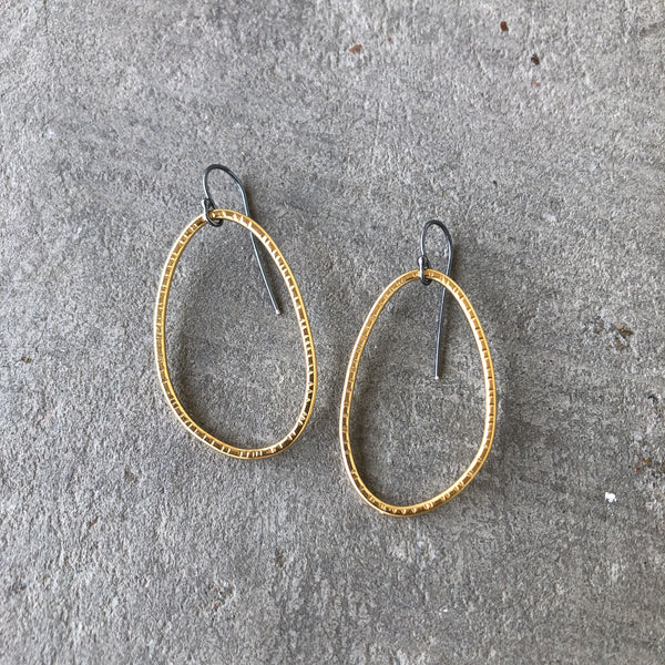 hatch oval drop earring - Lisa Crowder Studio