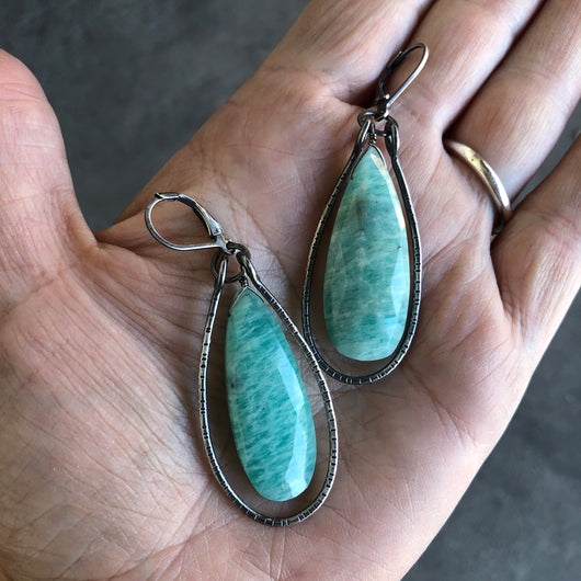 teardrop amazonite stirrup earrings