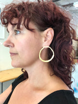 extra large thin rough cut post hoop earring - Lisa Crowder Studio