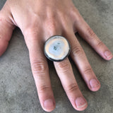 Solar quartz two tone ring