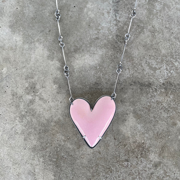 large enamel heart necklace