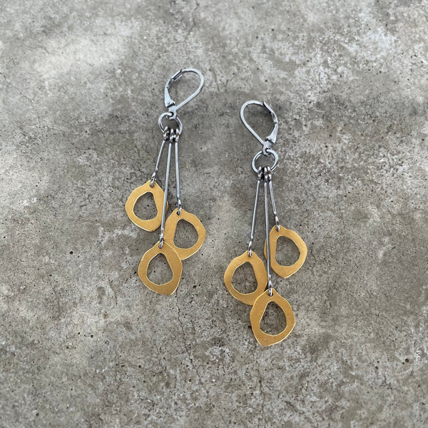 triple tiny rough cut earrings